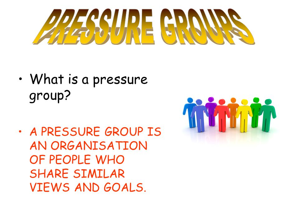 PRESSURE GROUPS What is a pressure group
