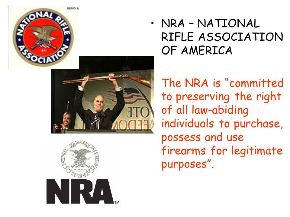 NRA – NATIONAL RIFLE ASSOCIATION OF AMERICA