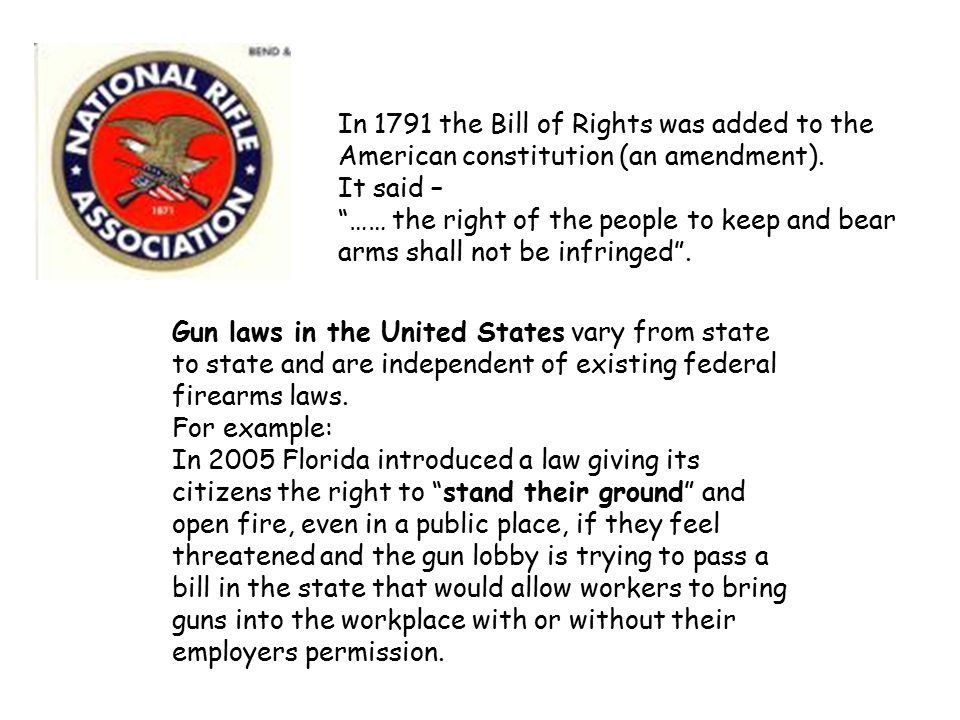 In 1791 the Bill of Rights was added to the American constitution (an amendment).