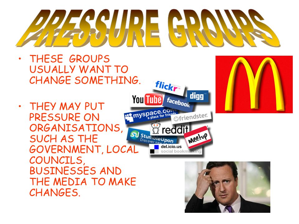 PRESSURE GROUPS THESE GROUPS USUALLY WANT TO CHANGE SOMETHING.