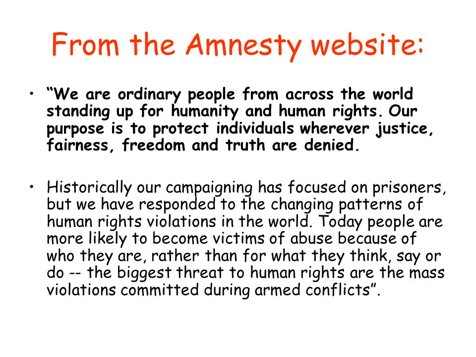 From the Amnesty website: