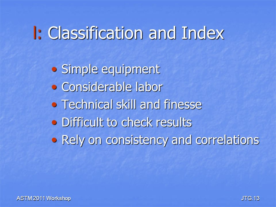 l: Classification and Index