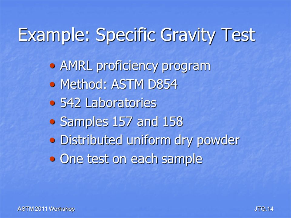 Example: Specific Gravity Test