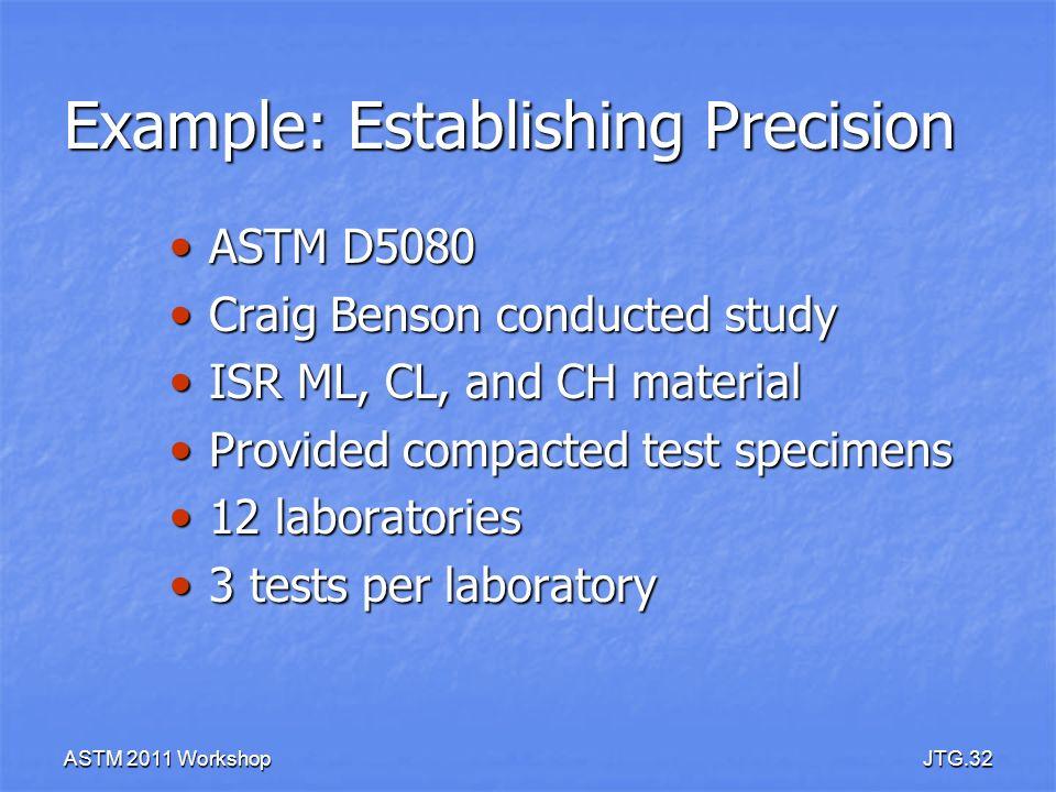 Example: Establishing Precision
