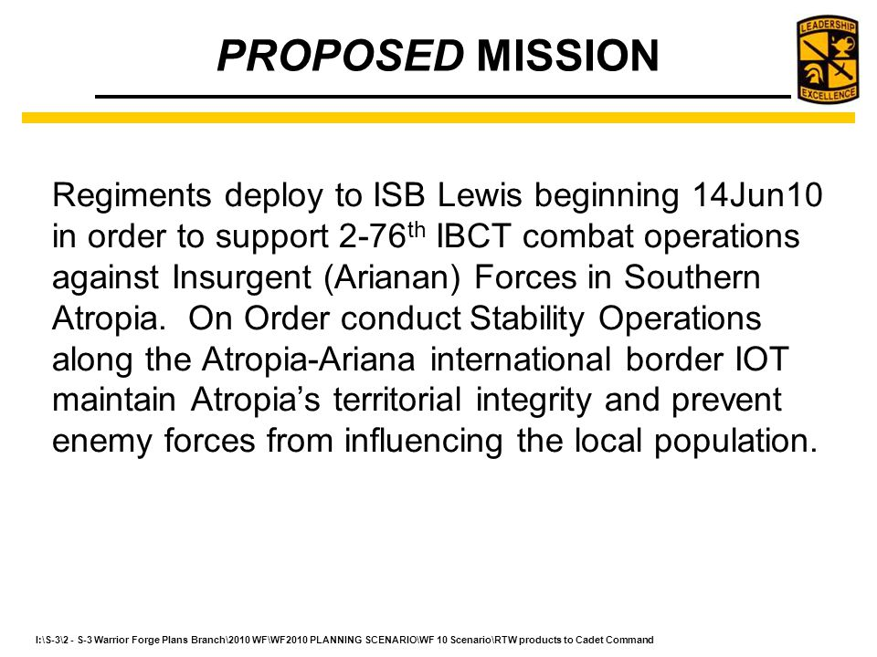 PROPOSED MISSION