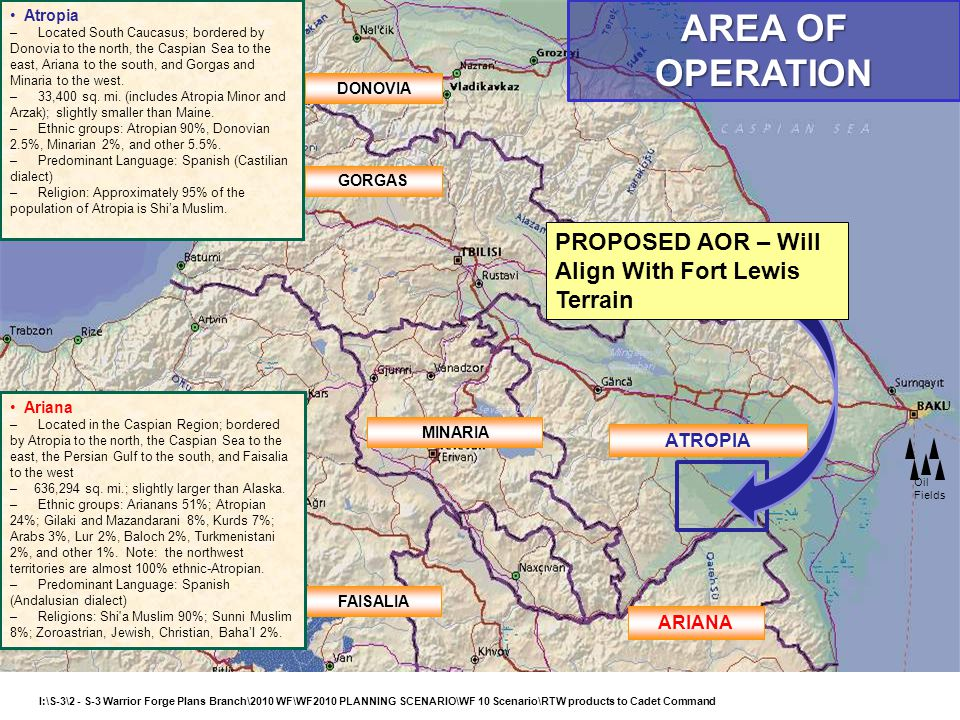 AREA OF OPERATION PROPOSED AOR – Will Align With Fort Lewis Terrain