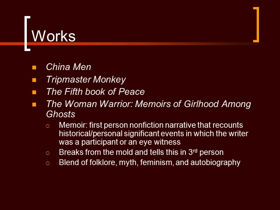 Works China Men Tripmaster Monkey The Fifth book of Peace