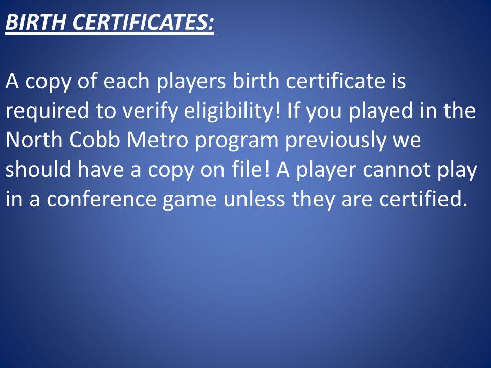 BIRTH CERTIFICATES: