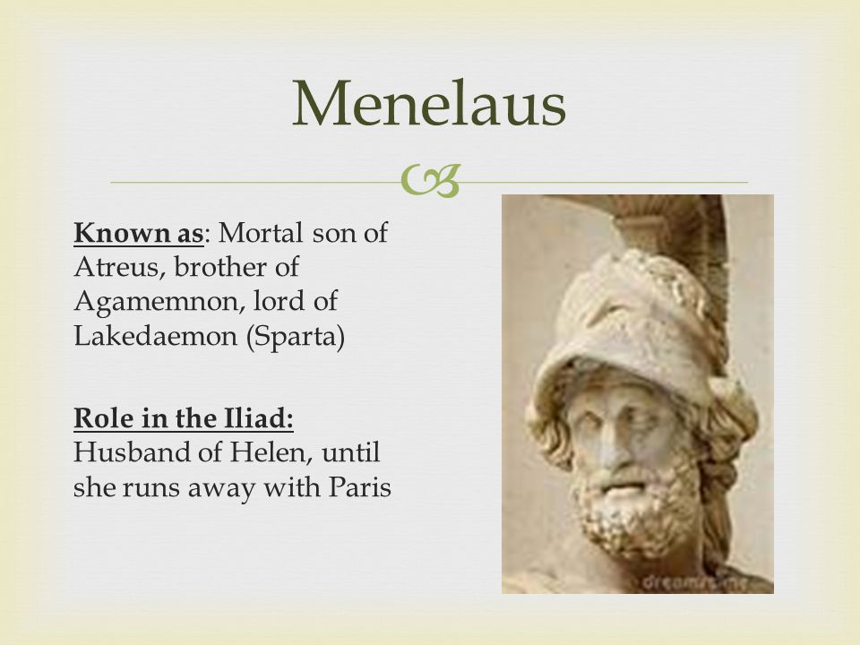 helen and menelaus The abduction of beautiful helen, wife of spartan king menelaus, by paris of troy triggers a long war.