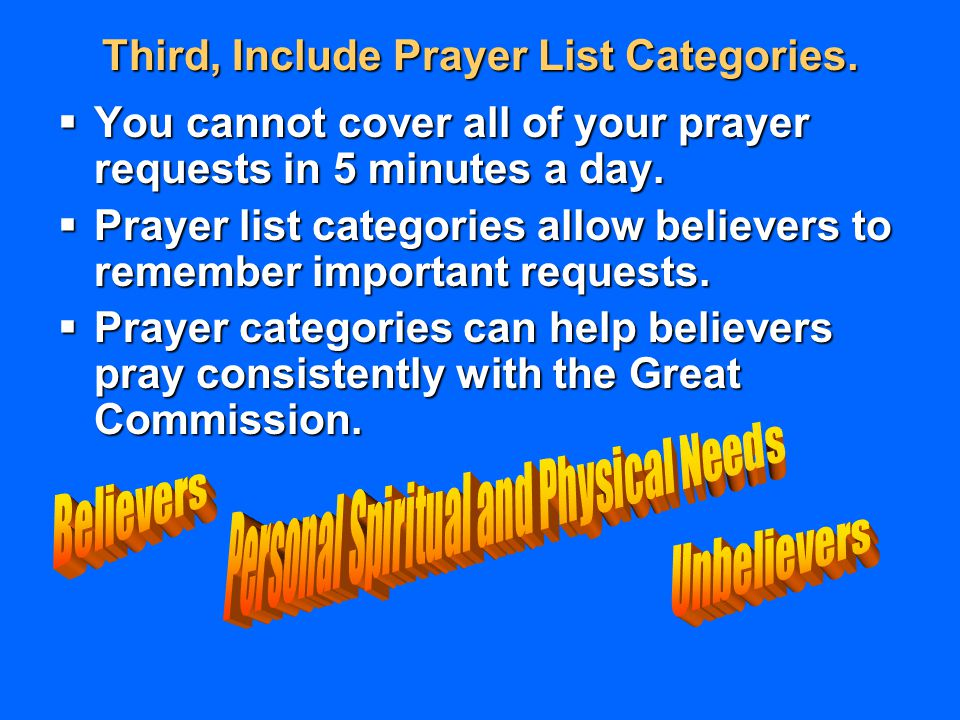 Third, Include Prayer List Categories.