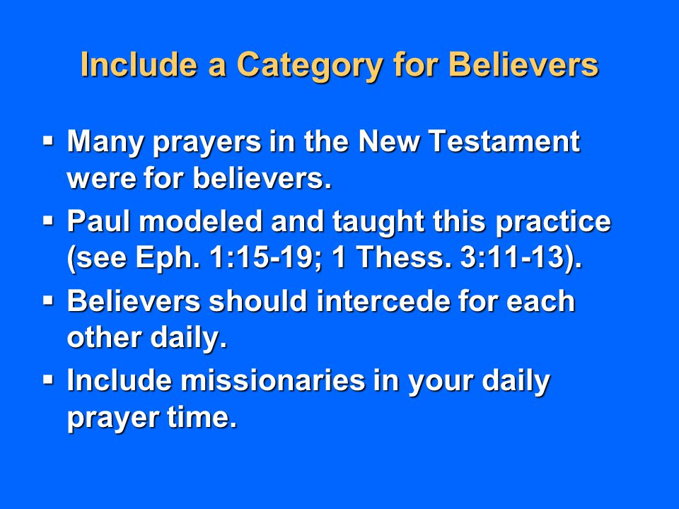 Include a Category for Believers