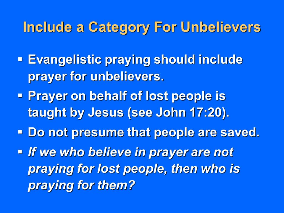 Include a Category For Unbelievers