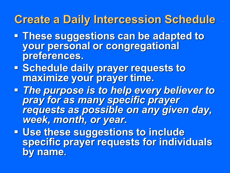 Create a Daily Intercession Schedule
