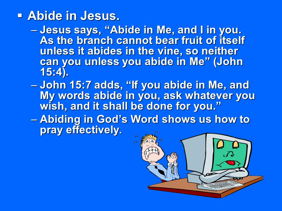 Abide in Jesus.