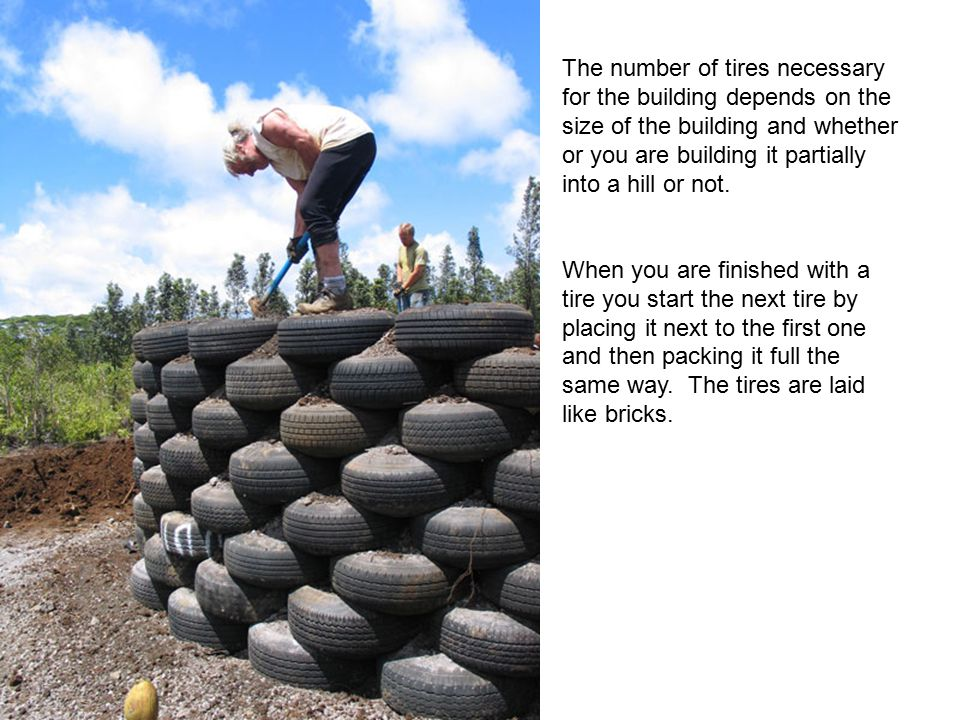 The number of tires necessary for the building depends on the size of the building and whether or you are building it partially into a hill or not.