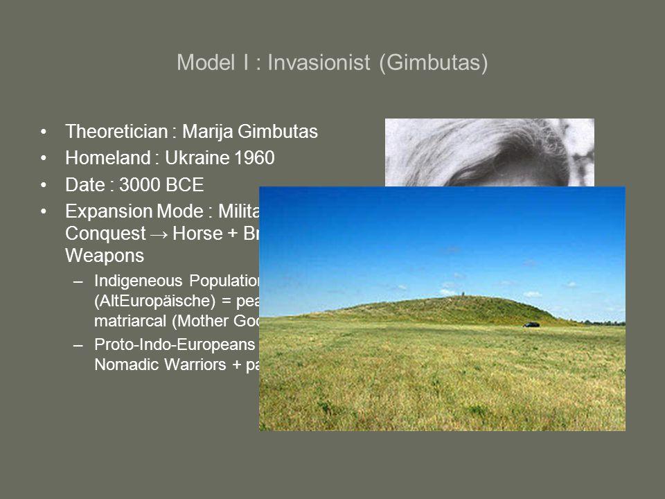 Model I : Invasionist (Gimbutas)