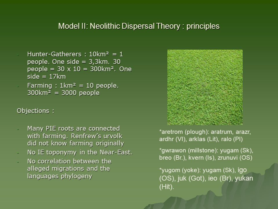 Model II: Neolithic Dispersal Theory : principles