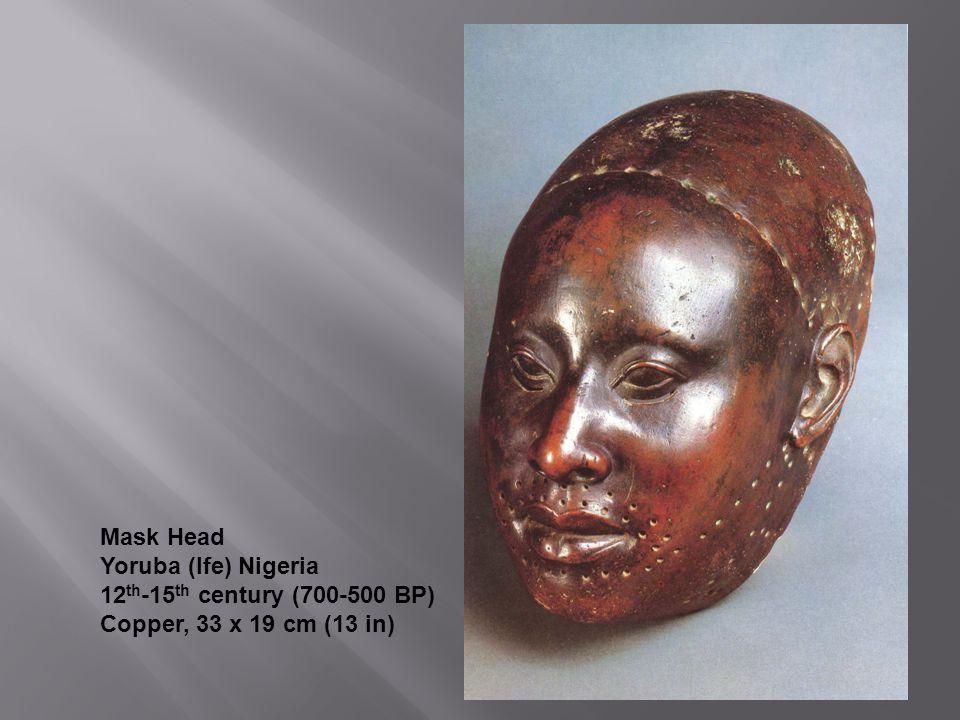 Mask Head Yoruba (Ife) Nigeria 12th-15th century (700-500 BP) Copper, 33 x 19 cm (13 in)