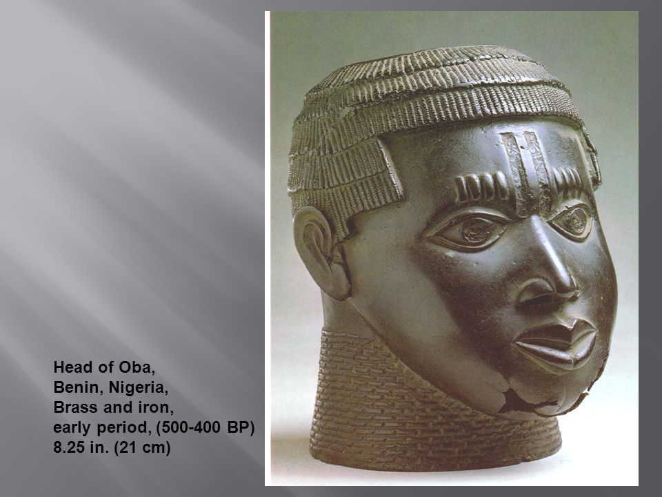 Head of Oba, Benin, Nigeria, Brass and iron, early period, (500-400 BP) 8.25 in. (21 cm)