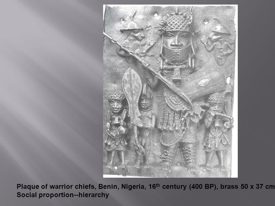 Plaque of warrior chiefs, Benin, Nigeria, 16th century (400 BP), brass 50 x 37 cm