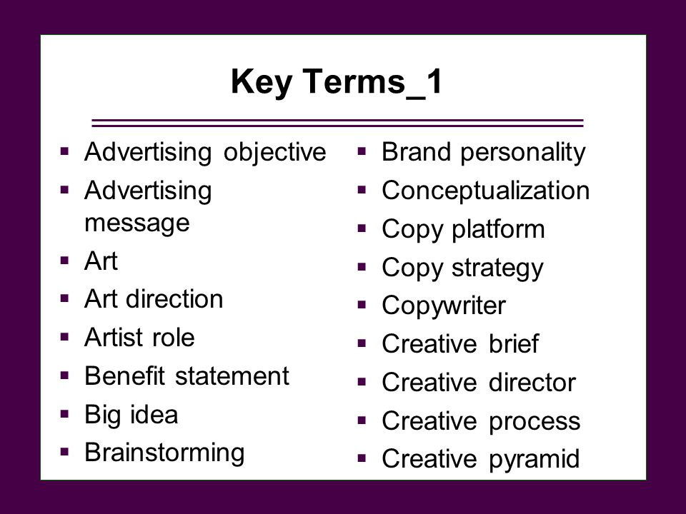 Key Terms_1 Advertising objective Advertising message Art
