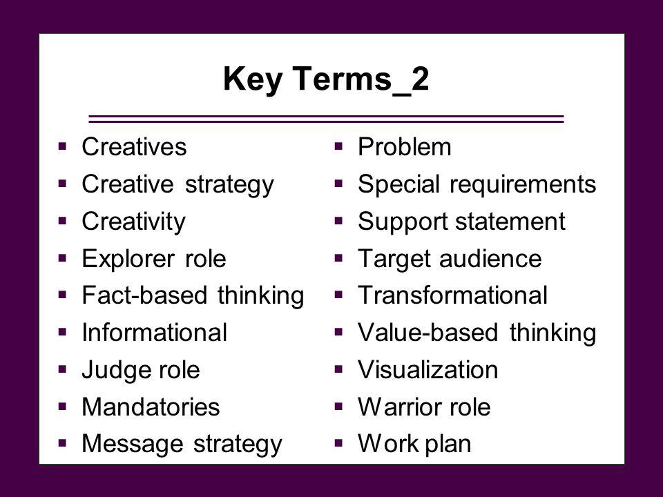 Key Terms_2 Creatives Creative strategy Creativity Explorer role