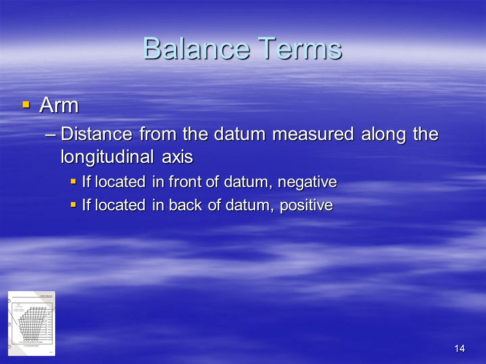Balance Terms Arm. Distance from the datum measured along the longitudinal axis. If located in front of datum, negative.