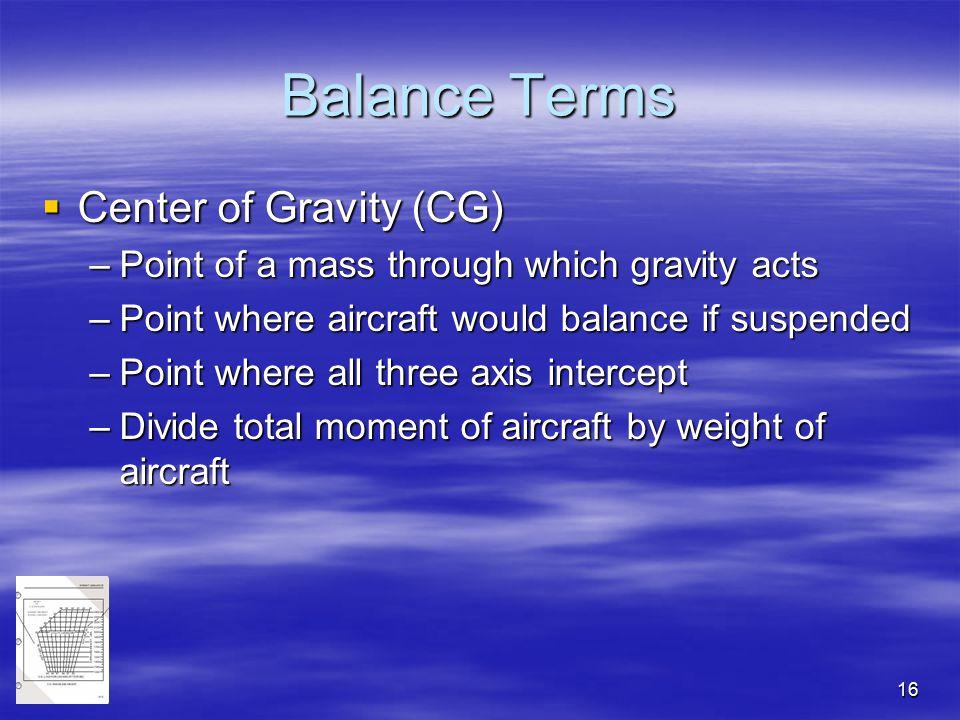 Balance Terms Center of Gravity (CG)