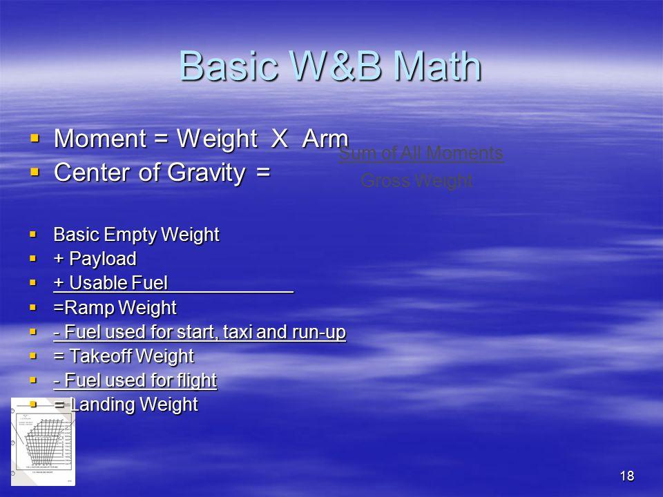 Basic W&B Math Moment = Weight X Arm Center of Gravity =