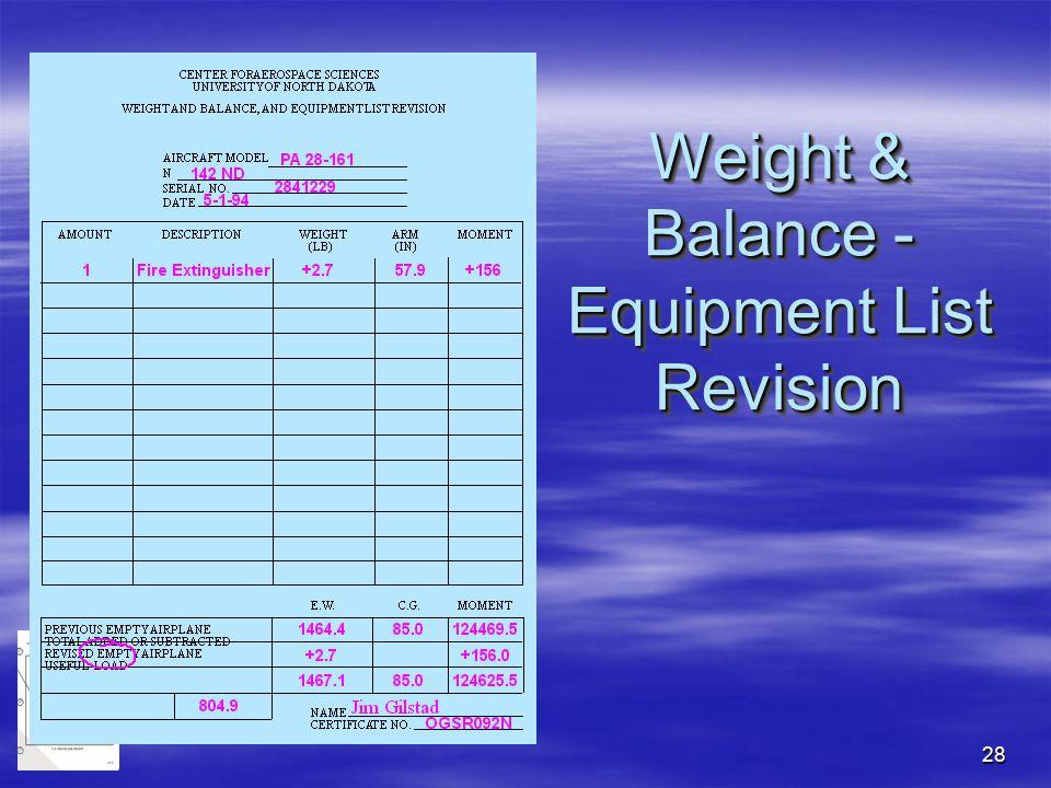 Weight & Balance - Equipment List Revision