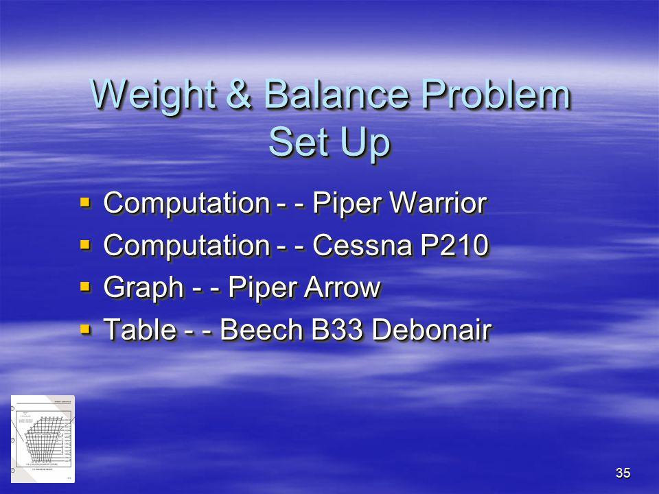 Weight & Balance Problem Set Up