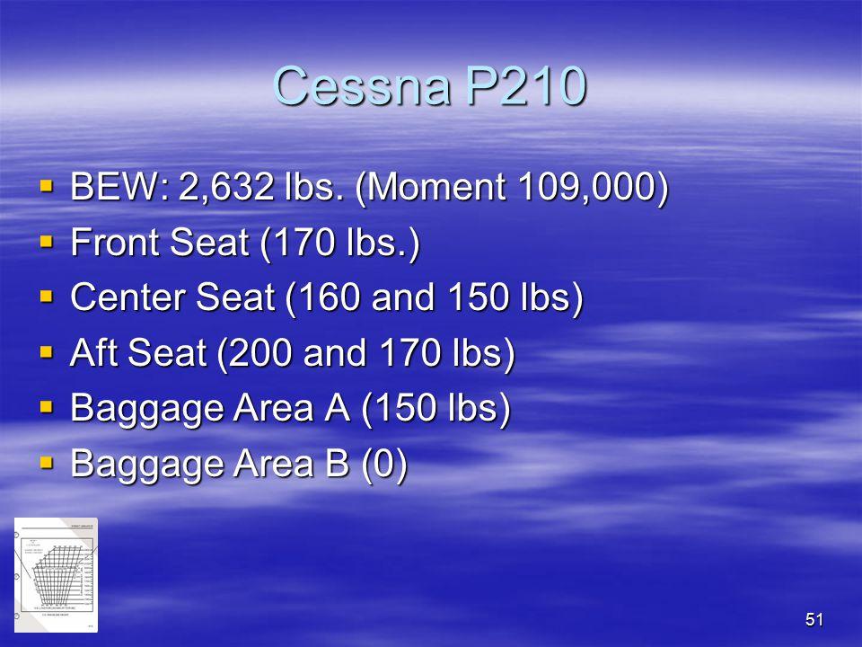 Cessna P210 BEW: 2,632 lbs. (Moment 109,000) Front Seat (170 lbs.)