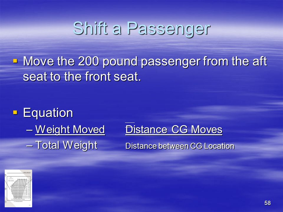Shift a Passenger Move the 200 pound passenger from the aft seat to the front seat. Equation. Weight Moved Distance CG Moves.