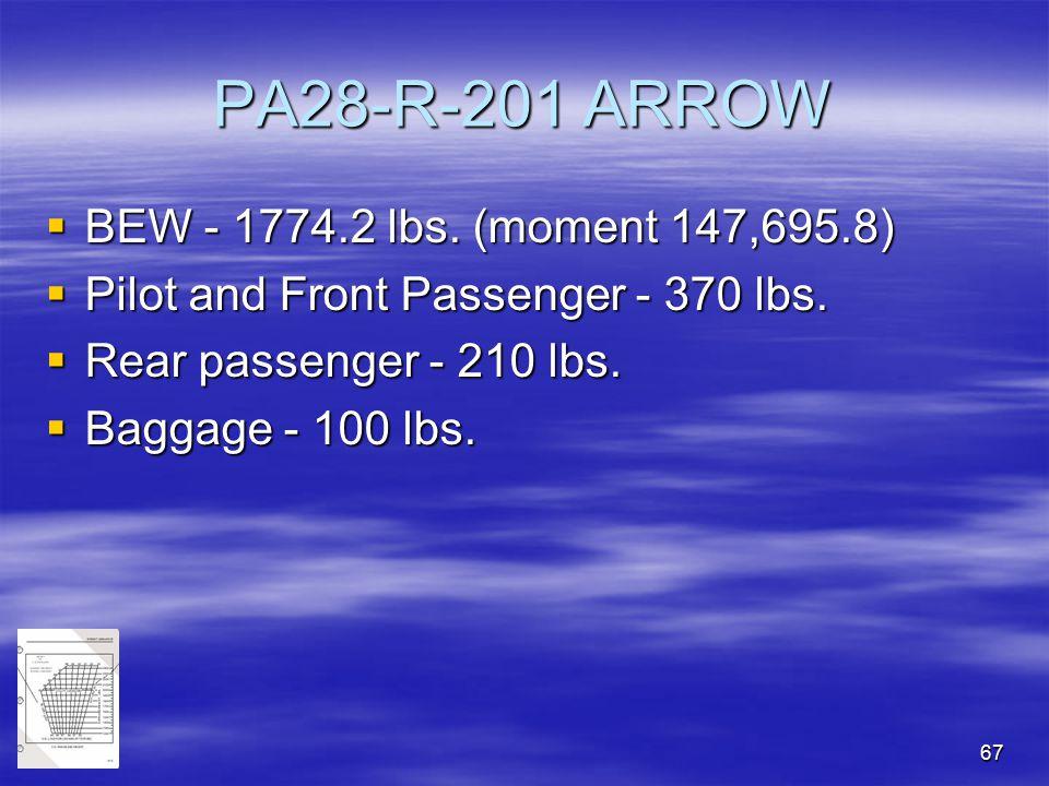 PA28-R-201 ARROW BEW - 1774.2 lbs. (moment 147,695.8)