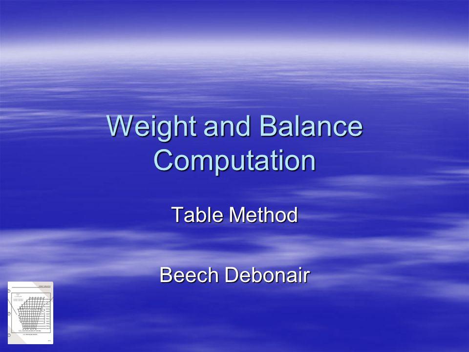 Weight and Balance Computation