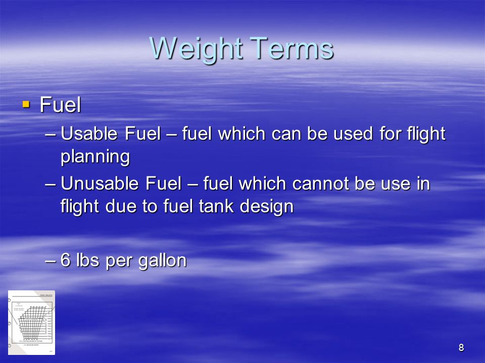 Weight Terms Fuel. Usable Fuel – fuel which can be used for flight planning.