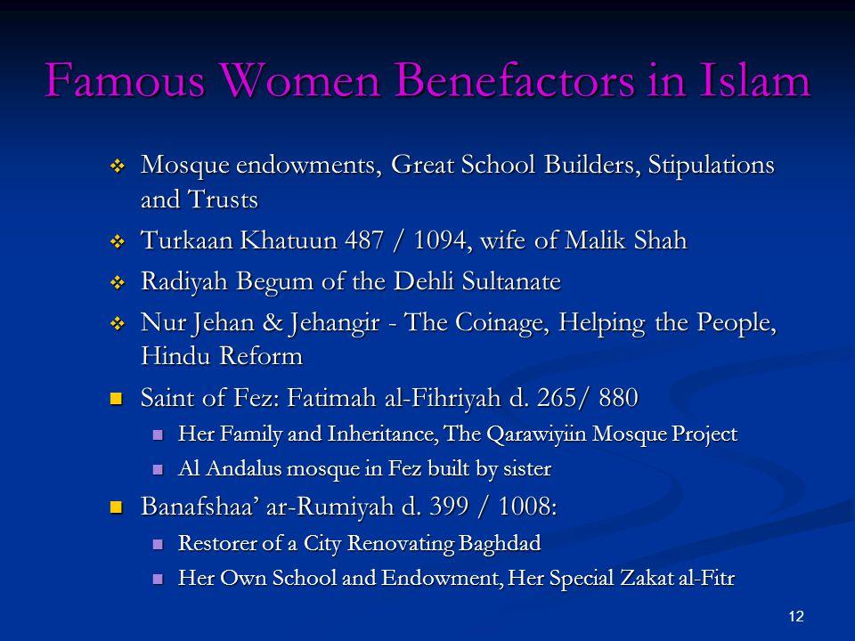 Famous Women Benefactors in Islam