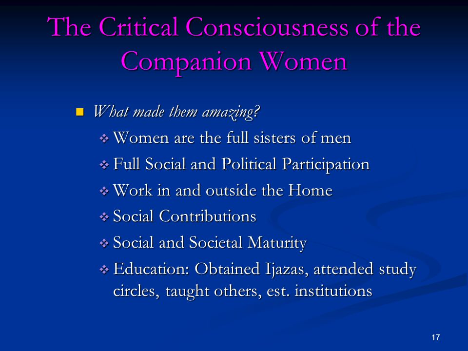 The Critical Consciousness of the Companion Women