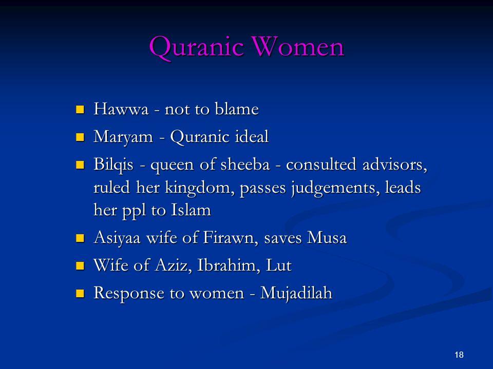 Quranic Women Hawwa - not to blame Maryam - Quranic ideal