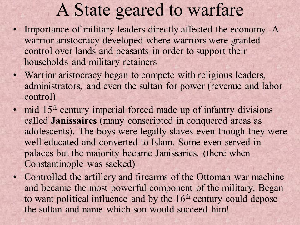 A State geared to warfare