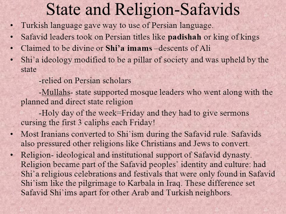 State and Religion-Safavids
