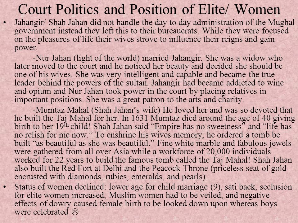 Court Politics and Position of Elite/ Women