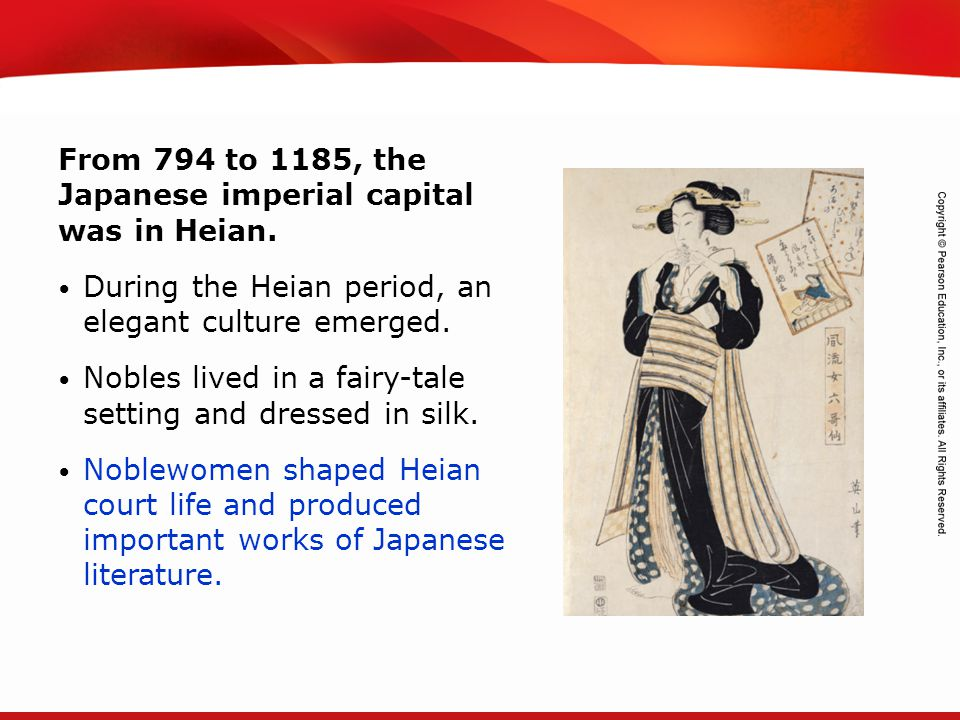 From 794 to 1185, the Japanese imperial capital was in Heian.
