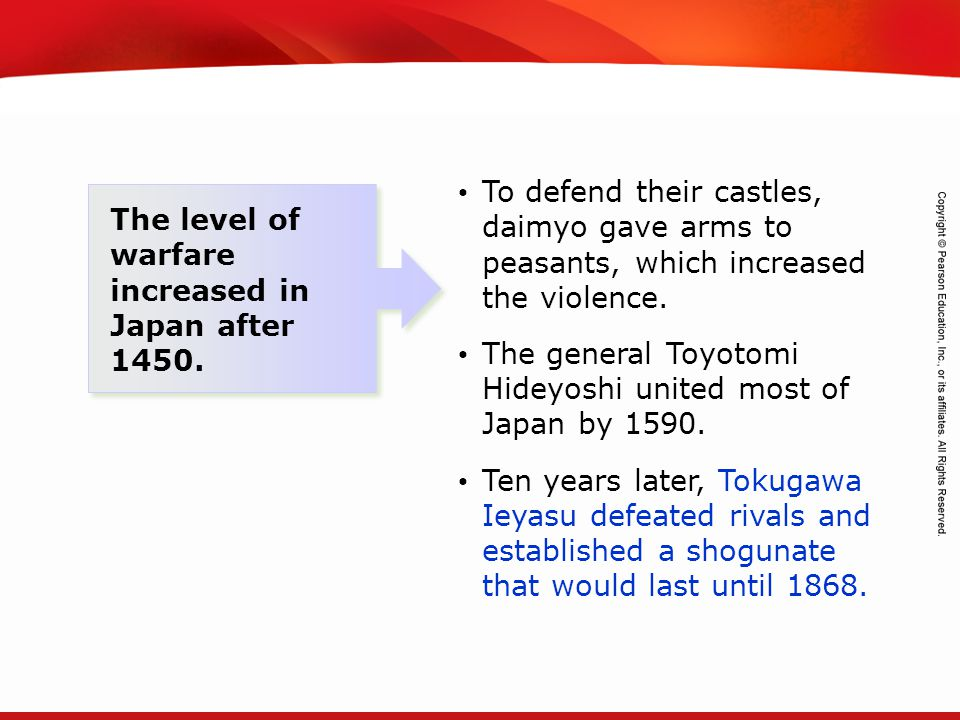 To defend their castles, daimyo gave arms to peasants, which increased the violence.