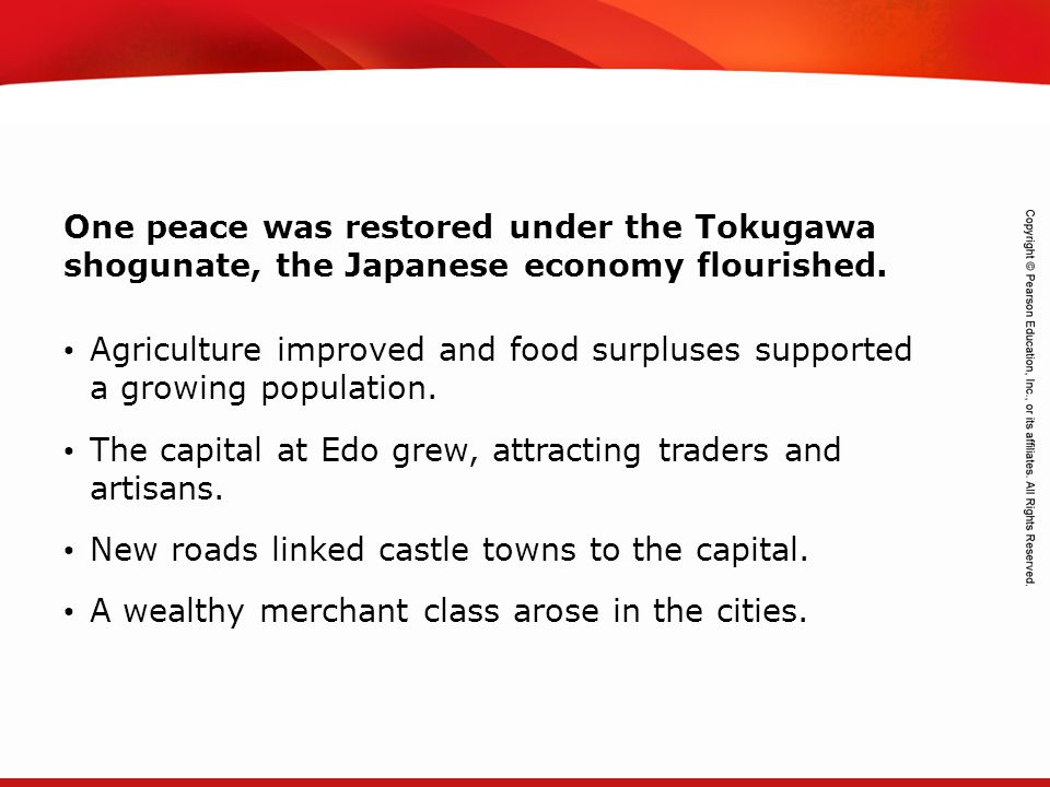 One peace was restored under the Tokugawa shogunate, the Japanese economy flourished.