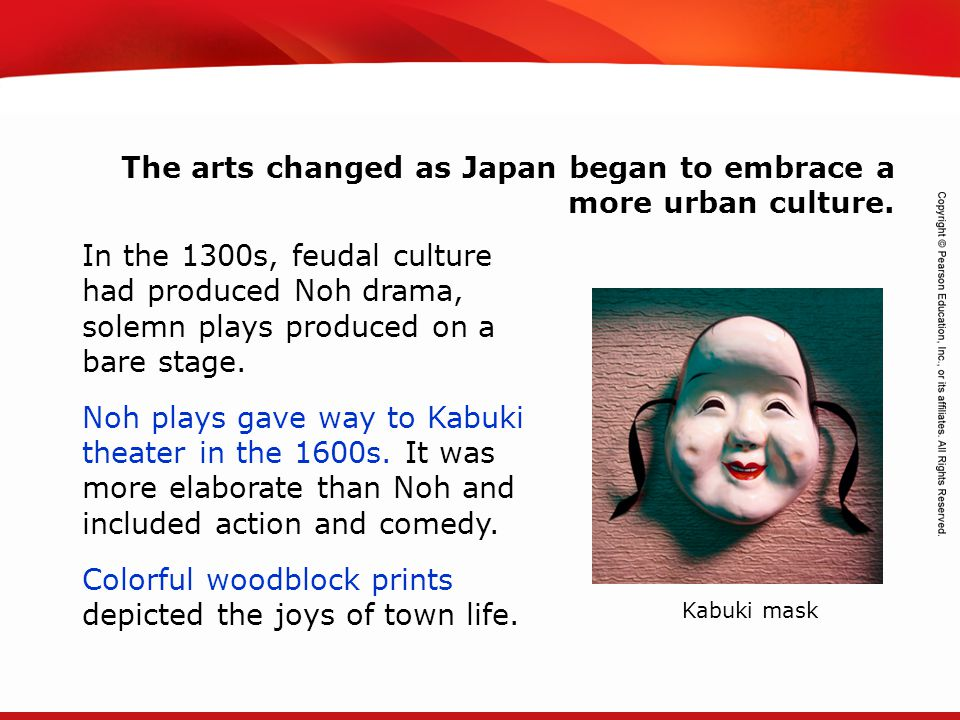 The arts changed as Japan began to embrace a more urban culture.