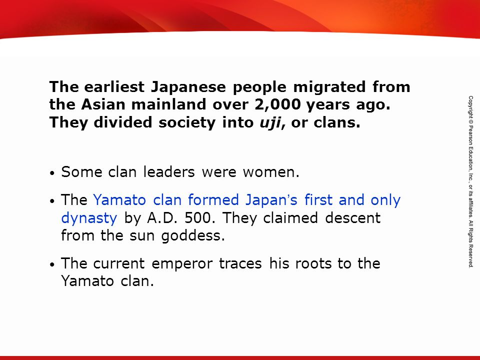 The earliest Japanese people migrated from the Asian mainland over 2,000 years ago. They divided society into uji, or clans.