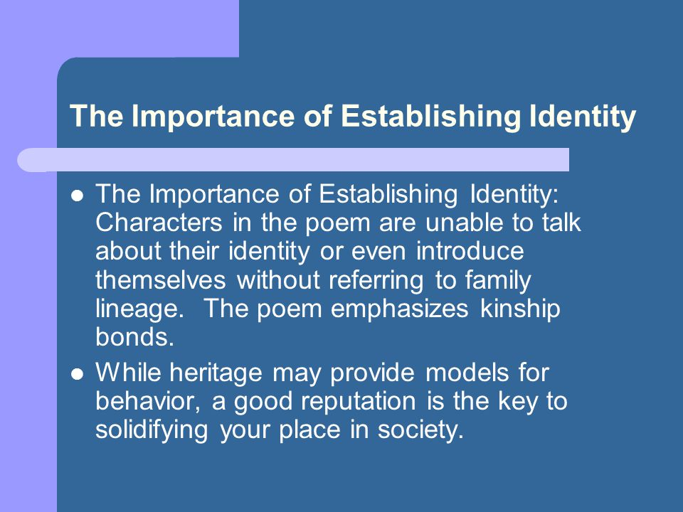 The Importance of Establishing Identity