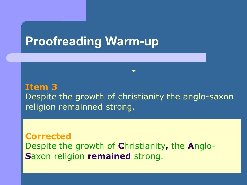 Proofreading Warm-up Item 3 Corrected