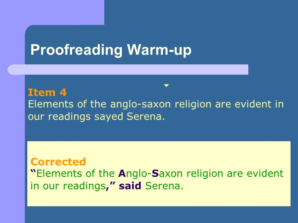 Proofreading Warm-up Item 4 Corrected